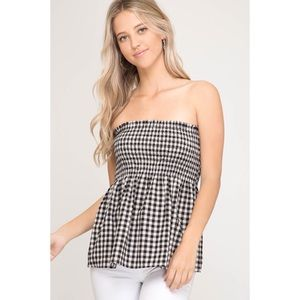 LAST ONE!! Black Gingham Print Top